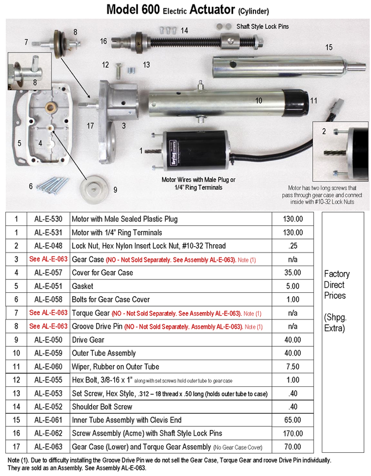 Actuator Model 600 Parts and Pricing,750wide